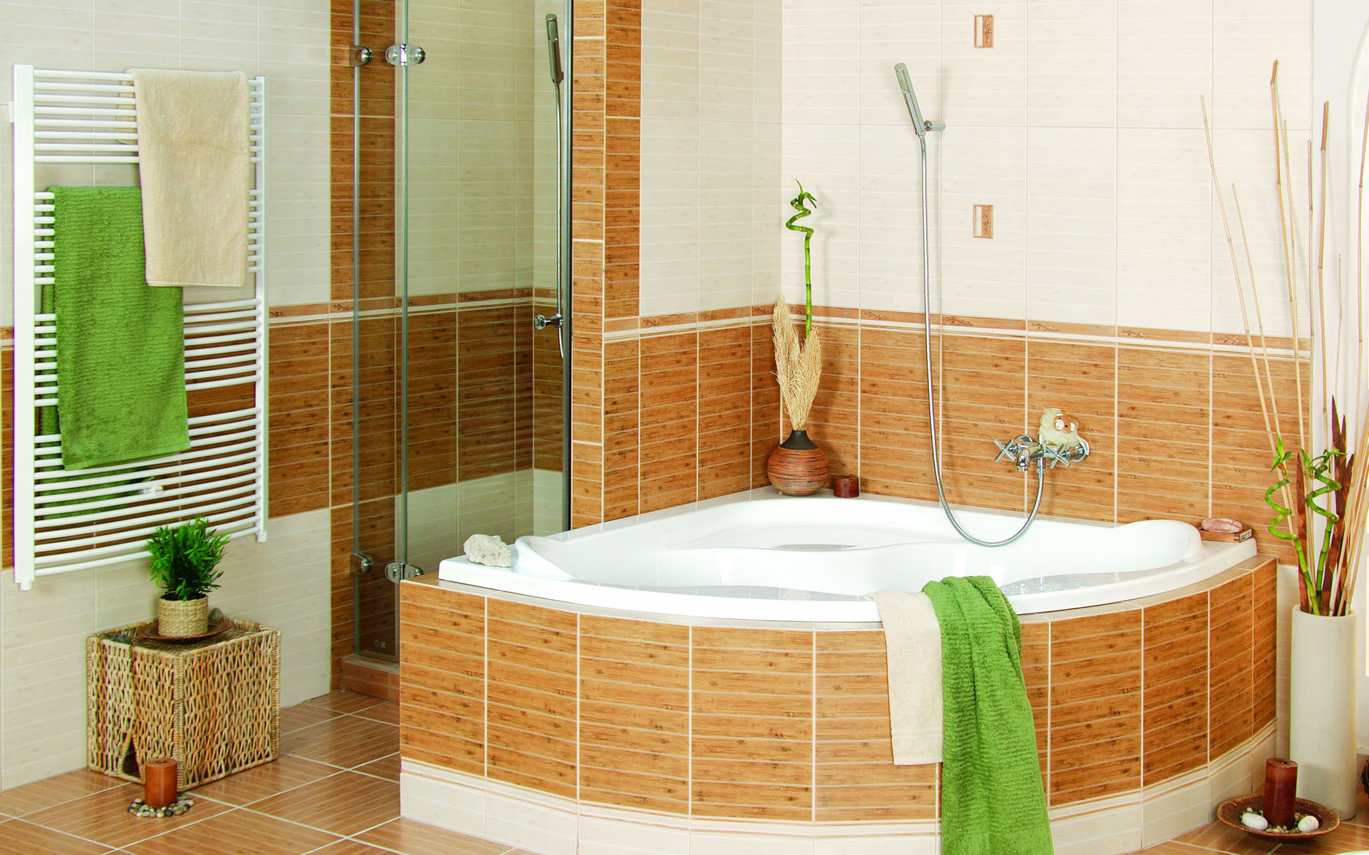 sprightly-modern-bathroom-decoration-shower-brown-earthenware